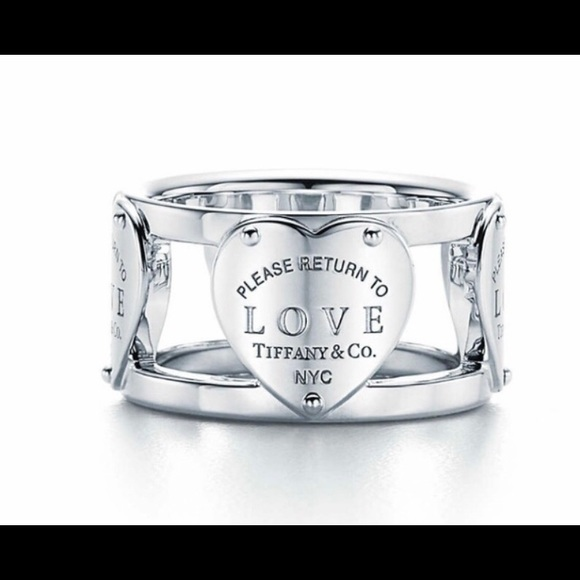 Authentic Tiffany and co wide band multi heartring